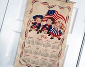 RESERVED FOR KYOKO Vintage Calendar Tea Towel, Vintage Campbell Soup Kid Calendar, Vintage Campbell Kids Towel, Vintage Kitchen Towel, 1976