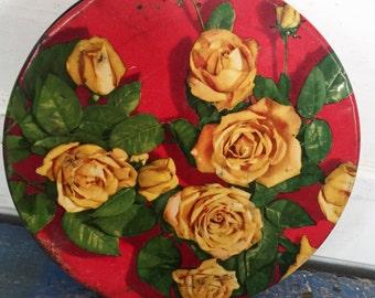 Vintage Candy Tin, Flower Tin, Floral Tin, Vintage Floral Tin, Vintage Red Tin, Vintage Tin Container