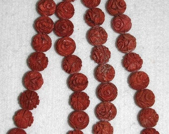 Coral, Sponge Coral, 18 mm, Carved Coral, Carved Flower, Carved Coral Flower, Natural Coral, Sponge Coral Bead, Full Strand, AdrianasBeads