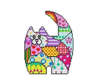 Plastic Canvas Patchwork Quilt Cat Pattern  #1 Instant Download