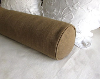 8x30  bolster pillow includes insert, dark toast/tan
