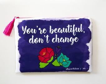 Happy quote cosmetic bag, flower bag, makeup bag, pencil bag, ipad case