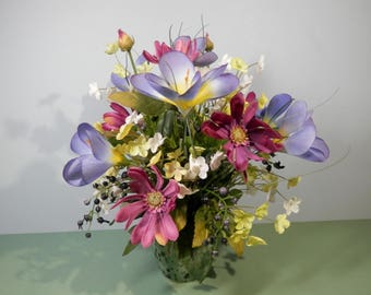 "11"" Tall Silk Spring Flower Centerpiece Fuchsia Cosmos Lilac Color Crocus White & Yellow Hawthorn Springtime Easter Decoration Mom Gift Idea"