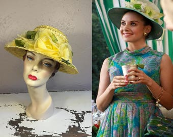 The Delightful Trudy Campbell - Vintage 1960s Yellow Cello Straw & Yellow Floral Bucket Wide Brim Hat