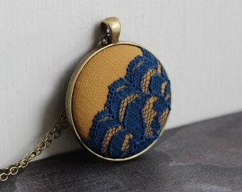 Navy And Yellow Jewelry, Colorful Large Pendant