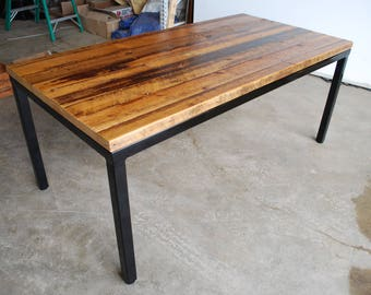 "Distressed/reclaimed wood and steel base Parsons style table in standard 1.65"" top  in your choice of color, size and finish"