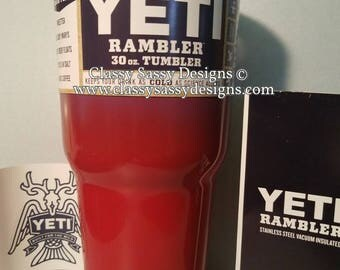 30 oz monogrammed Yeti rambler two toned ombre tumbler T6 - red / blue - IN STOCK