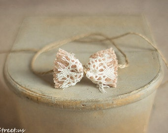Baby Headband, Newborn Props, Baby Lace Bow, Newborn Headband, Blush Headband, Baby Props, Ivory lace bow, Baby Props, RTS