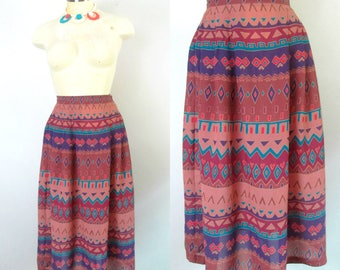 Southwestern Aztec Sheer Skirt Vintage 1970s Size Small Colorful Seventies Disco Club Fashionista