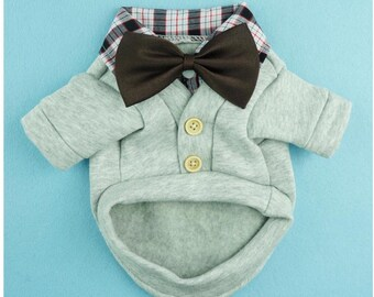 Boy dog outfit shirt and bow tie shirt dog sweater cute dog clothes