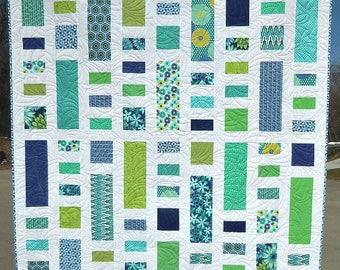 Handmade Lap Quilt, Modern Quilt, Blue Quilt, Green Quilt, Aqua Quilt