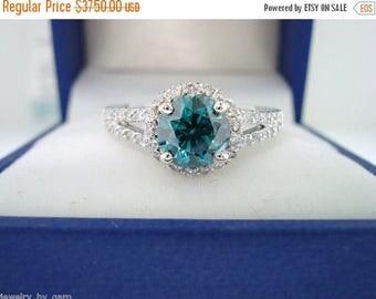 ON SALE Fancy Blue Diamond Engagement Ring 1.33 Carat SI1 14K White Gold Bridal Ring handmade Halo