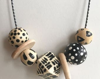 Hand painted Geometric necklace, black and wood, geo, modern wood, natural stripes polkadots pattern