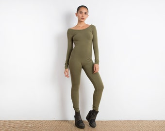 Olive Catsuit - Jumpsuit - One Piece - Long Sleeve Leotard - Onesie