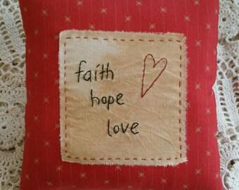 Prim faith hope love heart Pillow ~ OFG