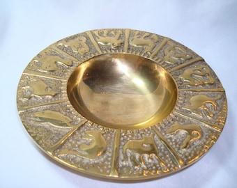 1980s Heavy Solid Brass Zodiac Dish.
