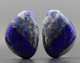 Lapis Lazuli Pair Natural Semiprecious Polished Jewels Cabochons Gemstones Beads Focals Smooth Stones for Jewelry (20536)