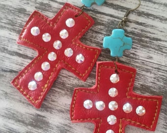 Red Cross, leather earrings