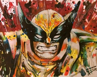 WOLVERINE print watercolours comics art prints marvel x-men poster