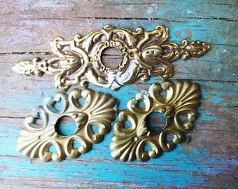 3 drawer back plates decorative hardware Restoration salvage Stamped brass Nouveau Victorian Baroque