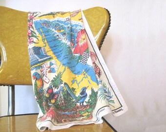 vintage Australian Souvenir Linen Tea Towel, vintage Dish Towel - GOLD COAST - summer fun, beach umbrellas, parasailing, casino, rainforest
