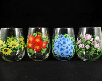 Stemless Wine Glasses Flowers Hand Painted Daisy Impatiens Hydrangea Roses Set of 4 - Choose Mixed Set or 4 of 1 Style MADE TO ORDER