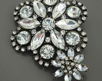 Vintage Brooch - Crystal Brooch - Statement Brooch - Flower Brooch - Bridal Brooch - Bridal Jewelry - OOAK - handmade jewelry
