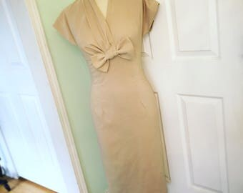 Pinup Beige Wiggle Dress- Work Office Dress- Bow Bust-1950s Marilyn Style-Custom Made