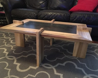 Coffee table, steel and poplar modern coffee table Free Shipping
