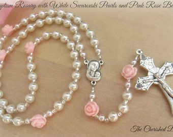 Baptism Rosary with White Swarovski Pearls and Light Pink Roses - Heirloom Quality - Baby Rosary
