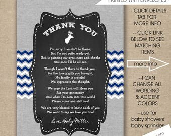 Buck Baby Shower Thank you note with poem / digital or printed with FREE SHIPPING / any size, any wording, rustic boy thank you notes