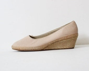 sale // Vtg 80s Beige Canvas Wedges - Women 10 Wide - Beacon Espadrilles