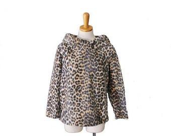 60% off sale // Vintage 60s Faux Fur LEOPARD PRINT Shirt Jacket by Robbie Bee - Women M, Zip back