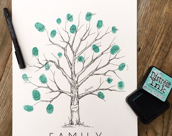 Fingerprint Tree, Family Tree, w/ink pad + pen, thumbprint tree KIT, custom guest book, Elm tree, wedding guest book alternative