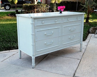 FAUX BAMBOO DRESSER / Regency Style Faux Bamboo Credenza / Faux Bamboo Server Buffet / Island Style Dresser at Retro Daisy Girl