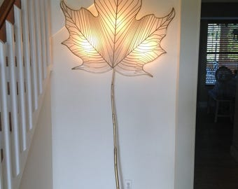 "SCULPTURAL LEAF SCONCE 90"" tall C Jere Leaf Sconce with Decorative Gold Gilt Stem Cord Cover / Signed Curtis Jere Sconce at Retro Daisy Girl"