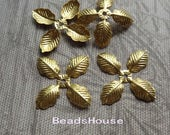 FF-600-R  6pcs ( 30mm 4 Petal) Raw Brass  Beadcap Finfing Charms ,Nickel Free.
