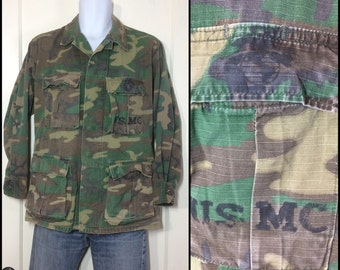 1960's 70's Military Rip Stop USMC stamped Camouflage Field Jacket size Small Faded worn soft cotton