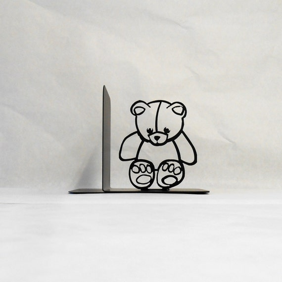 Teddy Bear Silhouette Single Metal Art Bookend Right Side