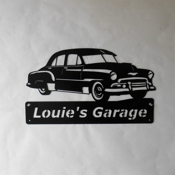 1951 Chevy Deluxe Personalized Man Cave Classic Garage Sign Satin Black Metal Art