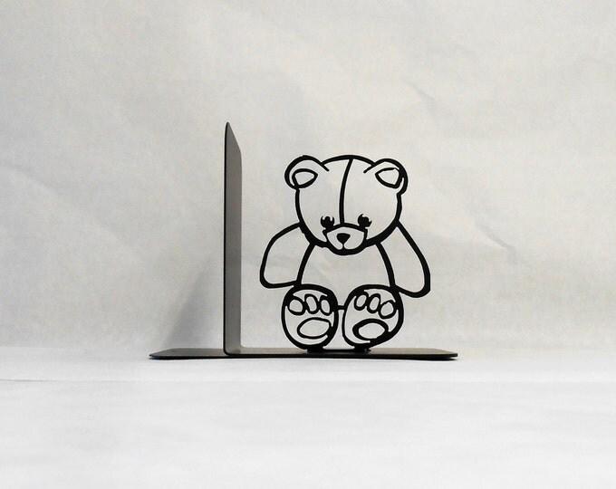 Teddy Bear Silhouette Single Metal Art Bookend Right Side
