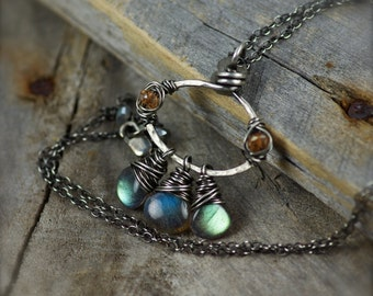 SALE.. Wire Wrapped Labradorite and Mystic Quartz Gemstone Necklace.  Labradorite Jewelry