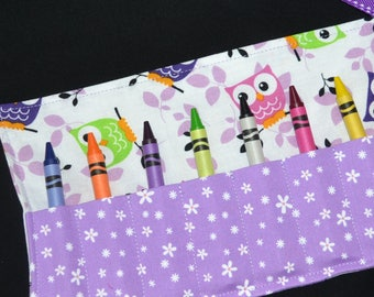 Purple Owls Crayon Roll, girls birthday party favors, Crayola Roll Up, stocking stuffer, Owl Birthday, travel toy, Easter gift, girls gift