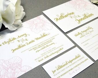Vintage Floral Wedding Invitations Calligraphy Invite Set Gold and Pink Pocket Folder Suite RSVP Postcard Flower Wedding Invitation Script