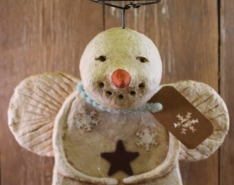 Primitive Snowman Angel, OOAK, hand-sculpted from paper mache, Snowman Angel Figurine