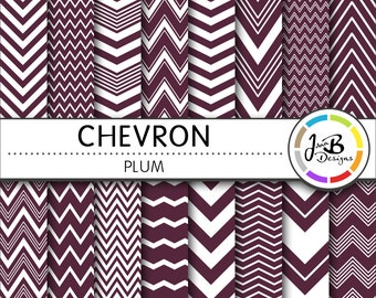 Chevron Digital Paper, Plum, Purple, White, Chevron, Zig Zag, Digital Paper, Digital Download, Scrapbook Paper, Digital Paper Pack