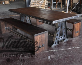 Vintage Industrial A Frame Dining Table/Mahogany Benches/Restaurant Seating