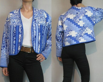 80s QUILTED Cotton Striped Patchwork Crop Jacket Vintage 80 Blue + White Quilted Jacket Quilted Cotton Cropped Jacket Pin Pleated Jacket
