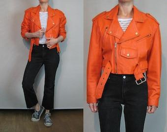 Rare Orange Leather Motorcycle Jacket / Orange Moto Jacket / Cropped Moto Jacket