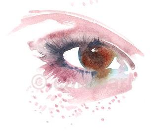 Hazel Eye Print, Eye makeup illustration, Pink Freckles print, Beauty Print, Fashion Art, Beauty watercolor, Eye Wall Art, Eye sketch